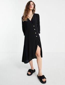 – Kleid in Schwarz mit Knopfdetail