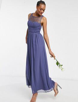 – Bridesmaid – Maxikleid aus Chiffon in Lavendelgrau mit Kunstperlenverzierung