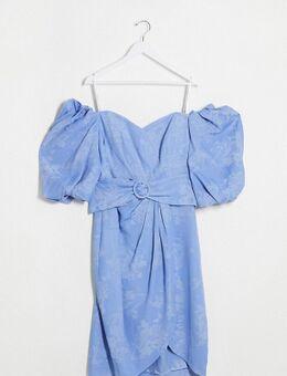 – Kleid mit Puffärmeln und Gürtel in Lavendelblau