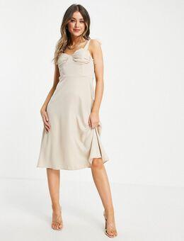 – Ausgestelltes Kleid in Ecru mit gebundenen Trägern-Weiß