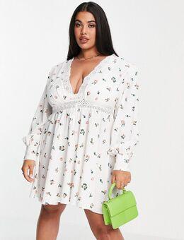 ASOS DESIGN Curve – Mini-Skater-Kleid mit kleinem Blumenmuster und Spitzeneinsätzen-Mehrfarbig