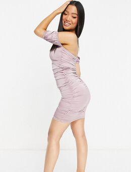 – Schulterfreies Bodycon-Kleid aus Satin in dunklem Flieder-Lila