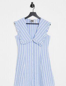 Inspired – Kleid in Blau gestreift mit Bubikragen-Weiß