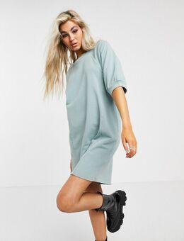 – Mini-Sweatshirtkleid in verwaschenem Blau mit Puffärmeln-Grau