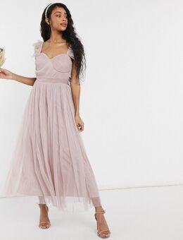 With Love – Bridesmaid – Tüll-Midaxikleid mit Rüschenärmeln in Rosa