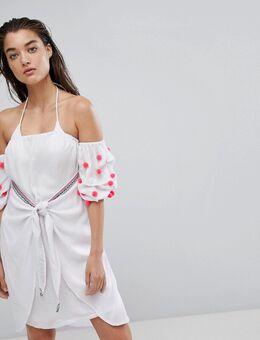 – Bali – Strandkleid mit Wickeldesign-Weiß