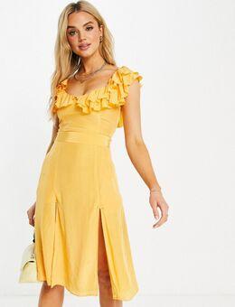 – Almedina – Kleid mit Rüschen am Ausschnitt in Orange