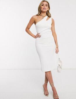 – Kleid mit One-Shoulder-Träger und Zierausschnitten in Weiß