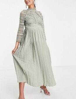 – Wadenlanges Kleid mit Spitzendetails in Salbeigrün