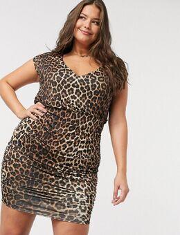 – Kleid mit gerafftem V-Ausschnitt und Leopardenmuster-Mehrfarbig