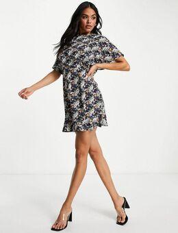 – Kurzärmliges Kleid mit Blumenmuster-Schwarz