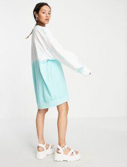 – Liza – Midi-Sweatshirt-Kleid mit Batikmuster in Blau-Mehrfarbig