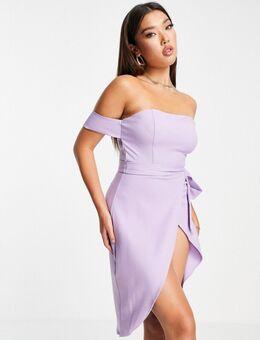 – Schmal geschnittenes Kleid in Schwarz-Lila