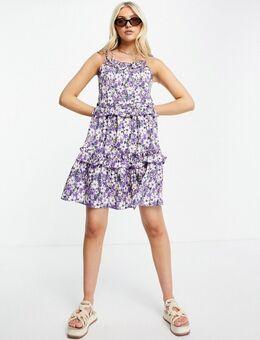 ‑ Schwingendes Camisole-Kleid mit Trägern zum Binden und Blumenmuster-Lila