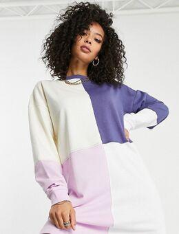 – Oversized Sweatshirt-Kleid mit Farbblockdesign-Mehrfarbig