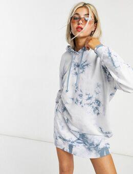 – Oversize-Kapuzenpulloverkleid mit blauem Batikmuster-Mehrfarbig