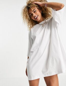 – Huge – T-Shirt-Kleid aus Bio-Baumwolle in Weiß