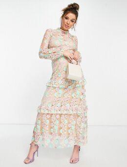 – Verziertes Midaxi-Kleid in Minzgrün und Apricot-Mehrfarbig
