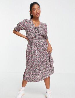 – Geblümtes Kleid mit Raffungen-Mehrfarbig