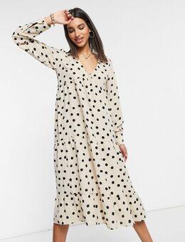 – Langärmliges Midaxi-Hemdkleid in Creme mit Punkten-Weiß