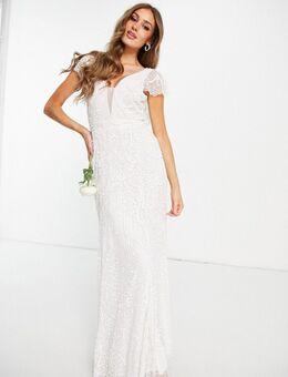 Bridal – Verziertes Maxikleid mit Flügelärmeln in Elfenbein-Weiß