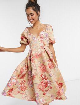 – Garden Party – Midi-Ballkleid mit Blumenmuster und Körbchen im Vintage-Look-Mehrfarbig