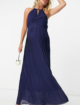 – Bridesmaid – Plissiertes Maxikleid in Marineblau mit Wickeldetail
