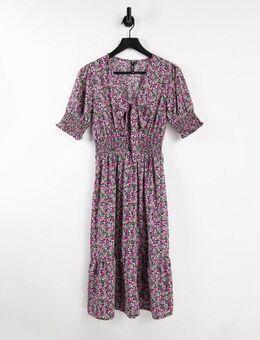 – Geblümtes Midi-Kleid mit Raffungen-Mehrfarbig