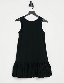 – Ärmelloses Kleid in Schwarz mit V-Rückenausschnitt und Ballonsaum
