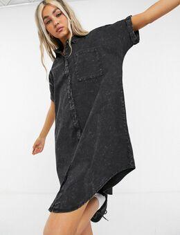 – Jeanshemdkleid in verwaschenem Schwarz-Grau
