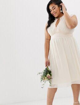 – Midi-Brautjungernkleid mit Spitzenbesatz-Rosa