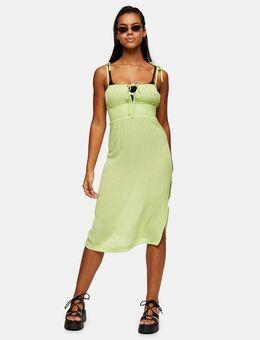 – Midi-Strandkleid mit geraffter Front in Limettengrün