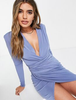 – Mini-Kleid mit Wickeldesign vorne in Dunkelblau