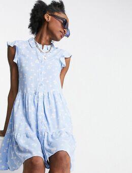– Ärmelloses, geblümtes Kleid in Blau