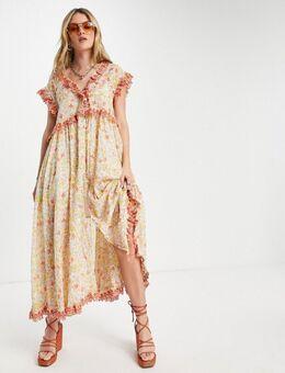 – Milania – Midaxi-Kleid mit Rüschenbesatz und Vintage-Blumenmuster-Orange