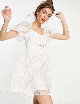 – Organza-Kleid mit Zierausschnitt in Weiß
