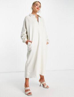 – Sweatshirt-Kleid mit Oversize-Schnitt und Polokragen in Kieselgrau