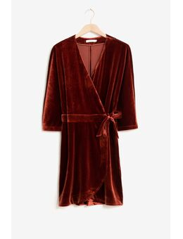 Rode velvet wrap jurk