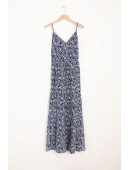 Donkerblauwe maxi jurk met all over print