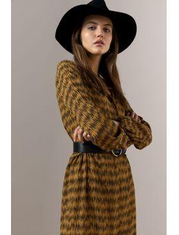 Bruine all over print jurk