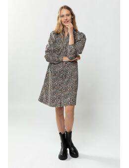 A-line jurk met all over panterprint en pofmouwen
