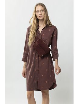 Donkerrode overhemd jurk met all over embroidery