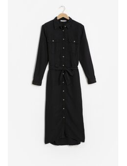 Zwarte midi jurk met knoopriem