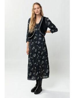 Zwarte maxi jurk met all over bloemenprint