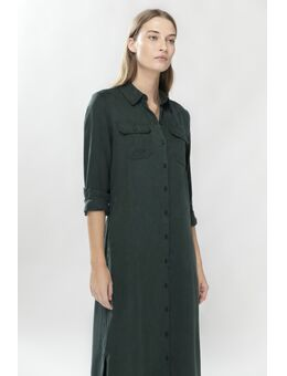 Donkergroene doorknoop jurk