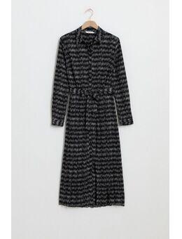 Zwarte plissè jurk met all over print