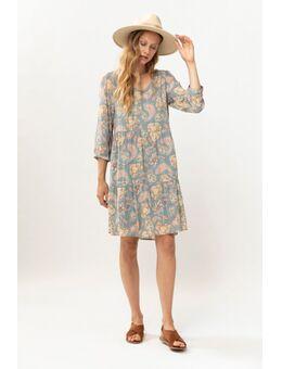Groene a-line jurk met all over paisley print