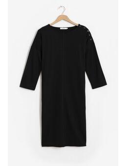 Zwarte jersey jurk met schouderknopen