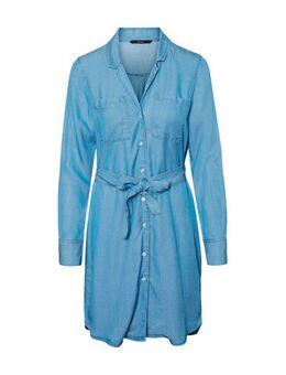 Spijker blousejurk met ceintuur blauw