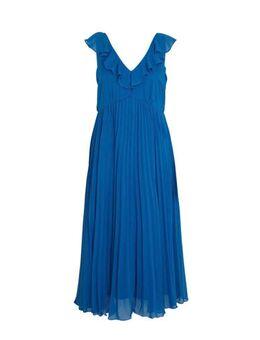 Capsule maxi jurk met volant blauw